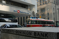 A tramway pass in front of THE TORONTO-DOMINION BANK, the NOVA SCOTIA BANK and the BANK OF MONTREAL on King Street West in downtown Toronto.....    photo by Pierre Roussel - Images Distribution