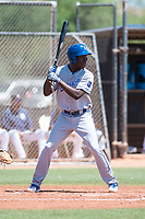 AZL Royals left fielder David Hollie (11) at bat during an Arizona League game against the AZL Padres 1 at Peoria Sports Complex on July 4, 2018 in Peoria, Arizona. The AZL Royals defeated the AZL Padres 1 5-4. (Zachary Lucy/Four Seam Images)