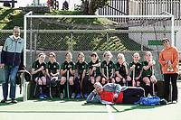 The Geckos team after the Wellington Hockey year 7/8 girls grade match between the Brooklyn Geckos and Kapiti Divas at National Hockey Stadium in Wellington, New Zealand on Saturday, 11 September 2021. Photo: Dave Lintott / lintottphoto.co.nz