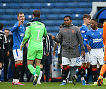 06.03.2021 Rangers v St Mirren: Jack Alnwick offers his congratulations to ex-team mates Borna Barisic and Alfredo Morelos