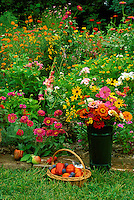 Flowers in canister and basket with peppers