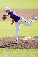 Bryson Hammer (28) of the Clemson Tigers delivers a pitch in a fall Orange-Purple intrasquad scrimmage on Saturday, November 14, 2020, at Doug Kingsmore Stadium in Clemson, South Carolina. (Tom Priddy/Four Seam Images)