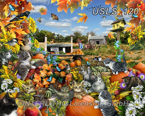 Lori, REALISTIC ANIMALS, REALISTISCHE TIERE, ANIMALES REALISTICOS, zeich, paintings+++++Autumn Kitties_72,USLS120,#a#, EVERYDAY ,puzzle,puzzles