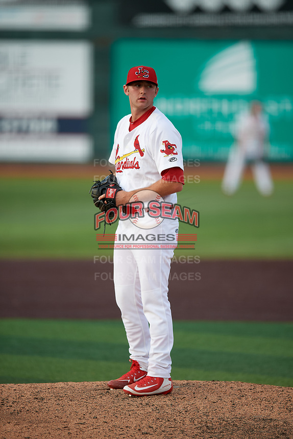 Johnson City Cardinals relief pitcher Parker Kelly (13) gets ready to deliver a pitch during a game against the Danville Braves on July 29, 2018 at TVA Credit Union Ballpark in Johnson City, Tennessee.  Johnson City defeated Danville 8-1.  (Mike Janes/Four Seam Images)