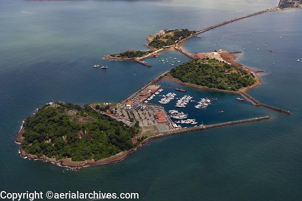 aerial photograph of Isla Flamenca and Perico Island marina, Panama Bay near Panama City Panama, Naos Island in the background