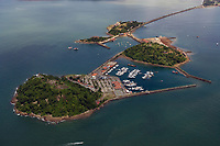 aerial photograph of Isla Flamenca and Perico Island marina, Panama Bay near Panama City Panama, Naos Island in the background