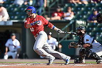 Buffalo Bisons outfielder Kevin Pillar (22) at bat in front of catcher Dan Rohlfing (16) during the second game of a doubleheader against the Rochester Red Wings on July 6, 2014 at Frontier Field in Rochester, New  York.  Rochester defeated Buffalo 6-1.  (Mike Janes/Four Seam Images)