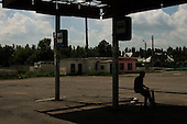 Amvrosiyivka, Ukraine.July 27, 2005 ..This bus station hasn't worked for more then two years. The buses still run on their own schedule. The people who live here know when and to where they run......