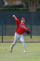 Philadelphia Phillies Yahir Gurrola (21) throws back to the infield during an Instructional League game against the Atlanta Braves on October 9, 2017 at the Carpenter Complex in Clearwater, Florida.  (Mike Janes/Four Seam Images)