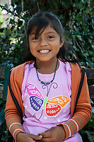 Antigua, Guatemala.  Seven-year-old Guatemalan Girl of the Kaqchikel (Kachiquel) Ethnic Group, a Maya Group.