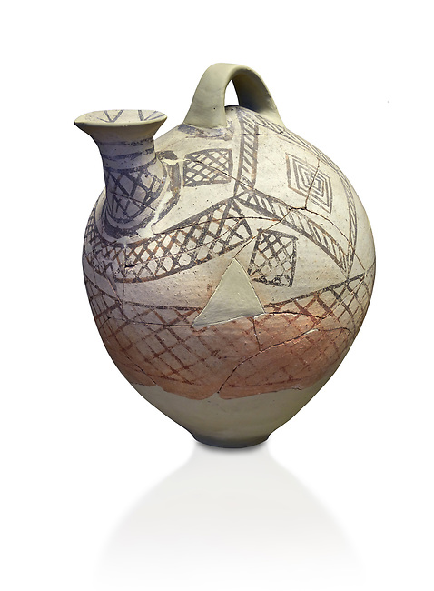 Cycladic askos with hatched painted decoration.  Cycladic III (2300-2000 BC) , Phylakopi, Melos. National Archaeological Museum Athens. Cat no 5826.   White background.<br /> <br /> <br /> Decorated pottery is rare during this Ccladic period. This Cycladic askos has vertical handle on top with a spout. It has painted decoration of hatched bands and a lozenge pattern