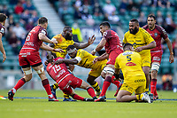 22nd May 2021; Twickenham, London, England; European Rugby Champions Cup Final, La Rochelle versus Toulouse; Ihaia West of La Rochelle receives a red card for this tackle on Maxime Medard of Toulouse and is sent off