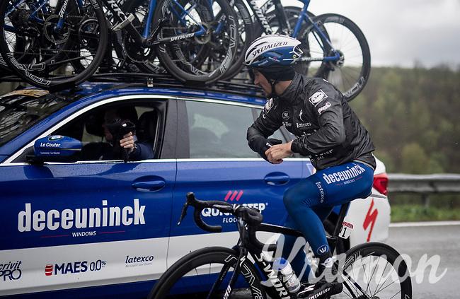 Julian ALAPHILIPPE (FRA/Deceuninck-Quick Step) dropping back to the team car to get new/dry gloves<br /> <br /> 105th Liège-Bastogne-Liège 2019 (1.UWT)<br /> One day race from Liège to Liège (256km)<br /> <br /> ©kramon
