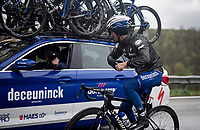 Julian ALAPHILIPPE (FRA/Deceuninck-Quick Step) dropping back to the team car to get new/dry gloves<br /> <br /> 105th Liège-Bastogne-Liège 2019 (1.UWT)<br /> One day race from Liège to Liège (256km)<br /> <br /> ©kramon