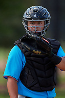 Miami Marlins catcher Dustin Skelton (20) during practice before an Instructional League game against the Washington Nationals on September 26, 2019 at FITTEAM Ballpark of The Palm Beaches in Palm Beach, Florida.  (Mike Janes/Four Seam Images)