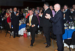 St Johnstone Hall of Fame Dinner, Perth Concert Hall...05.10.13<br /> Henry Hall is applauded as he steps up to receive his award<br /> Picture by Graeme Hart.<br /> Copyright Perthshire Picture Agency<br /> Tel: 01738 623350  Mobile: 07990 594431