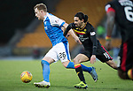 St Johnstone v Partick Thistle…27.01.18…  McDiarmid Park…  SPFL<br />Liam Craig holds off Ryan Edwards<br />Picture by Graeme Hart. <br />Copyright Perthshire Picture Agency<br />Tel: 01738 623350  Mobile: 07990 594431