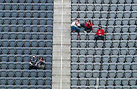 WASHINGTON, DC - APRIL 17: Fans sit in the stands before a game between New York City FC and D.C. United at Audi Field on April 17, 2021 in Washington, DC.