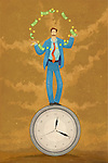Illustrative image of businessman juggling with money on top of clock representing time is money