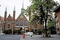Lubeck: Heiligen-Geist Hospital (Hospital of the Holy Spirit) from late 13th century. Gables mark chapel aisles. Photo '87.