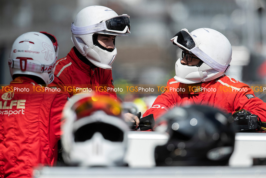 Balfe Motorsport pit crew in conversation during the British GT & F3 Championship on 11th July 2021