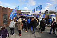 Liverpool, UK. Saturday 01 November 2014<br /> Pictured: A stand selling scarves and flags outside goodison Park.<br /> Re: Premier League Everton v Swansea City FC at Goodison Park, Liverpool, Merseyside, UK.