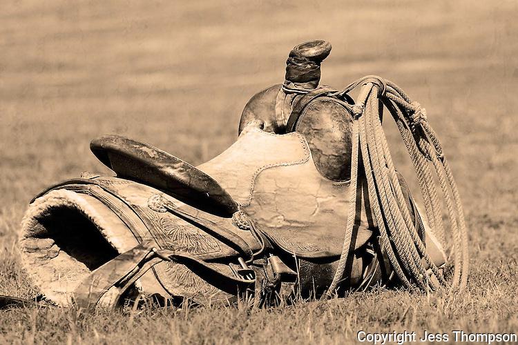 Cowboy saddle, aged look