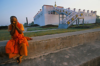 A Hindu monk on pilgrimage at the Maya Devi Temple in Lumbini - Nepal, marks the birth place of Siddhartha Gautam Buddha.  In 1976, the Nepalese Government and UNESCO designated Lumbini as a world heritage site..-The full text reportage is available on request in Word format