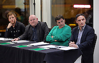 Pictured L-R: Nathan Dicks, Huw Cooze, Leigh Dineen and Steve Wednesday 25 November 2015<br /> Re: Schools take part in this year's Premier League Enterprise vent at Penderyn Suite, Liberty Stadium, Swansea, UK