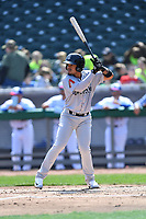 Jackson Generals third baseman Juniel Querecuto (9) awaits a pitch during a game against the Tennessee Smokies at Smokies Stadium on April 11, 2018 in Kodak, Tennessee. The Generals defeated the Smokies 6-4. (Tony Farlow/Four Seam Images)