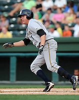 Infielder Luke Murton (34) of the Charleston RiverDogs, Class A affiliate of the New York Yankees, in a game against the Greenville Drive on May 27, 2010, at Fluor Field at the West End in Greenville, S.C. He was named to the 2010 South Atlantic League All-Star team. Photo by: Tom Priddy/Four Seam Images