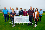Members of the Ballyheigue Golf Club held a classic golf fundraiser in memory of the late Patrick Corridan, Ballyheigue and presented  €3,160 to the Kerry Hospice foundation on Sunday in Ballyheigue. Front l to r: Mary Shanahan (Kerry Hospice), JP and Aileen Corridan. Back l to r: Mike Kenny, Mark Reidy, Padraig Casey (Mens Captain), Mary O'Halloran (Ladies Captain), Mary Flahive (Ballyheigue branch of Kerry Hospice), Edmund Corridan and Timothy Kenny.