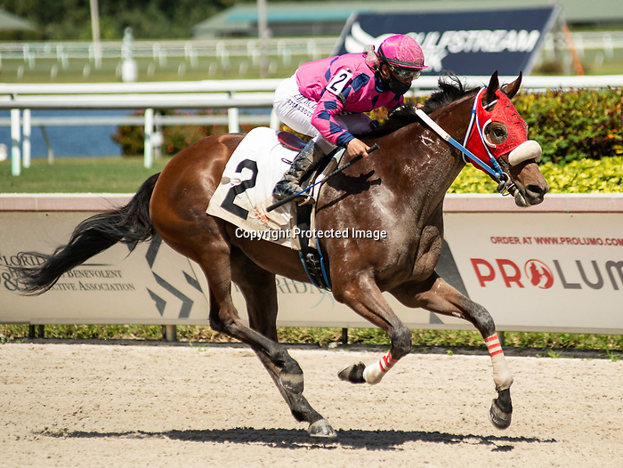 MARCH 27, 2021: #2 EYE OF THE JEDI and Jockey Javier Castellano cruise home in the 29th running of the $100,000 Grade III Ghostzapper Stakes on Florida Derby Day at Gulfstream Park in Hallandale Beach, Florida on March 27, 2021. Carson Dennis/Eclipse Sportswire/CSM