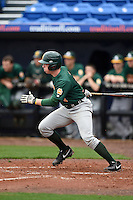 Siena Saints infielder Jordan Bishop (4) at bat during the first game of a doubleheader against the Michigan Wolverines on February 27, 2015 at Tradition Field in St. Lucie, Florida.  Michigan defeated Siena 6-2.  (Mike Janes/Four Seam Images)