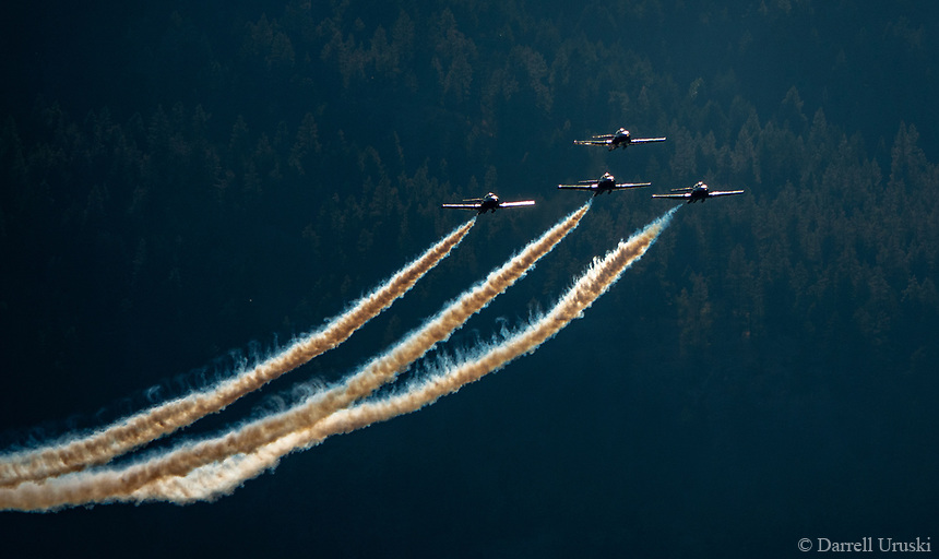 Action Photographs of Canada's Snowbirds flying in the Okanagan Valley airshow in British Columbia Canada.