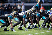 Jacksonville Jaguars James O'Shaughnessy (80), Marcedes Lewis (89), Jermey Parnell (78), and A.J. Cann (60) line up during an NFL Wild-Card football game against the Buffalo Bills, Sunday, January 7, 2018, in Jacksonville, Fla.  (Mike Janes Photography)