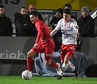 FC GULLEGEM - KV KORTRIJK :<br /> vriendschappelijke wedstrijd<br /> Jarne Jodts (L) en Tsotne Bendiashvili (R) <br /> <br /> Foto VDB / Bart Vandenbroucke