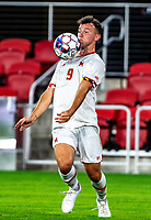 WASHINGTON, DC - SEPTEMBER 6: Maryland forward Justin Gielen (9) controls the ball during a game between University of Virginia and University of maryland at Audi Field on September 6, 2021 in Washington, DC.