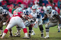 SAN FRANCISCO, CA - Quarterback Troy Aikman of the Dallas Cowboys in action during the NFC Championship Game against the San Francisco 49ers at Candlestick Park in San Francisco, California in 1995. Photo by Brad Mangin