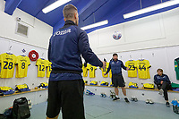 (L-R) Sports scientist Jordan Smith and kit man Michael Eames play football in the Swansea changing room prior to the Sky Bet Championship match between Sheffield Wednesday and Swansea City at Hillsborough Stadium, Sheffield, England, UK. Saturday 09 November 2019