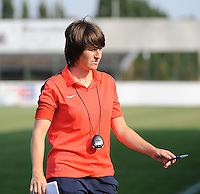 20160827 - AALTER , BELGIUM : Brugge's coach Ingrid de Rycke pictured during the soccer match  in the 2nd round of the  Belgian cup 2017 , a soccer women game between Club Brugge and Football Club Bercheux   ,  Aalter , saturday 27 th August 2016 . PHOTO SPORTPIX.BE / DIRK VUYLSTEKE
