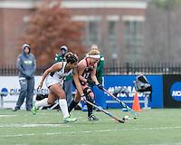 Easton, Massachusetts - November 20, 2016: NCAA Division II Field Hockey Championship final. Shippensburg University (blue) defeated LIU Post (white), 2-1, on Coughlin Memorial Field, in W.B. Mason Stadium at Stonehill College.
