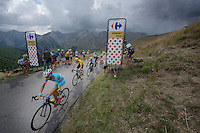 the 'yellow jersey group' / overall contenders Vincenzo Nibali (ITA/Astana), Chris Froome (GBR/SKY), Nairo Quintana (COL/Movistar), Alejandro Valverde (ESP/Movistar) & Alberto Contador (ESP/Tinkoff-Saxo) up the Col d'Allos (1C/2250m/14km/5.5%)<br /> <br /> stage 17: Digne-les-Bains - Pra Loup (161km)<br /> 2015 Tour de France