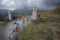 the 'yellow jersey group' / overall contenders Vincenzo Nibali (ITA/Astana), Chris Froome (GBR/SKY), Nairo Quintana (COL/Movistar), Alejandro Valverde (ESP/Movistar) & Alberto Contador (ESP/Tinkoff-Saxo) up the Col d'Allos (1C/2250m/14km/5.5%)<br /> <br /> stage 17: Digne-les-Bains - Pra Loup (161km)<br /> 2015 Tour de France