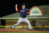 Lowell Spinners relief pitcher Mitchell Osnowitz (39) delivers a pitch during a game against the Batavia Muckdogs on July 12, 2017 at Dwyer Stadium in Batavia, New York.  Batavia defeated Lowell 7-2.  (Mike Janes/Four Seam Images)