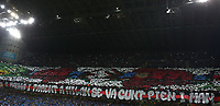 Calcio, Serie A: Inter Milano - AC Milan , Giuseppe Meazza stadium, .October 21, 2018.<br /> Milan's fans display banners inside the stadium prior to the start of the Italian Serie A football match between Inter and Milan at Giuseppe Meazza (San Siro) stadium, October 21, 2018.<br /> UPDATE IMAGES PRESS/Isabella Bonotto