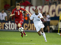 USA's DaMarcus Beasley chases down a ball in front of the Czech Republic's Ondrej Kusnir during an international friendly tune up match for the 2012 World Cup, in Hartford, CT, 05/25/10. The Czech Republic defeated the USA 4-2.