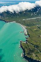 Aerial of Aleutian mountains, Shelikof Straight, Katmai National Park, Alaska Peninsula, southwest Alaska.