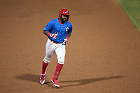 Clearwater Threshers D.J. Stewart (12) rounds the bases after hitting a game winning walk-off home run during a game against the Lakeland Flying Tigers on May 5, 2021 at BayCare Ballpark in Clearwater, Florida.  (Mike Janes/Four Seam Images)
