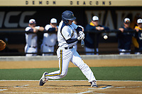 Brian Moskey (7) of the Quinnipiac Bobcats at bat against the Radford Highlanders at David F. Couch Ballpark on March 4, 2017 in Winston-Salem, North Carolina. The Highlanders defeated the Bobcats 4-0. (Brian Westerholt/Four Seam Images)